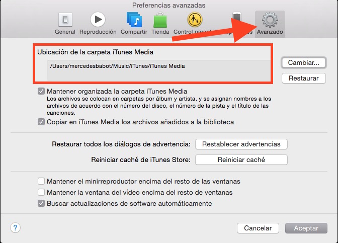 Ubicación carpeta iTunes Media