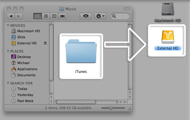 Arrastra la carpeta al disco externo en Mac