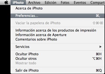preferencias iphoto