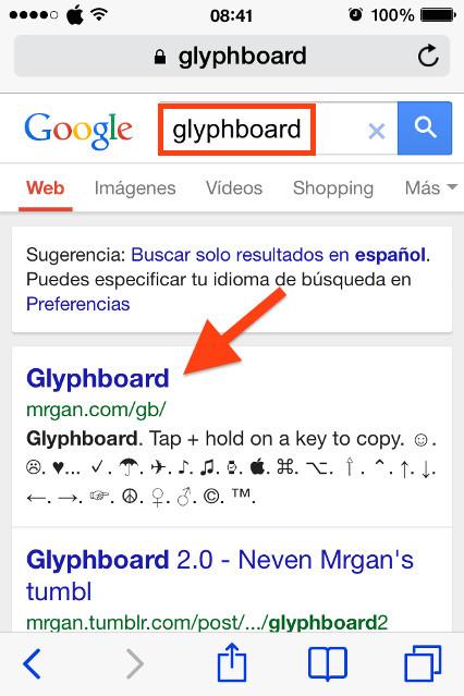 Escribe Glyphboard y haz clic en el primer resultado