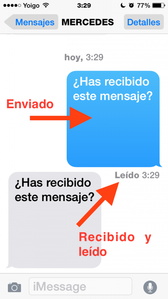 Notificación de la lectura del mensaje