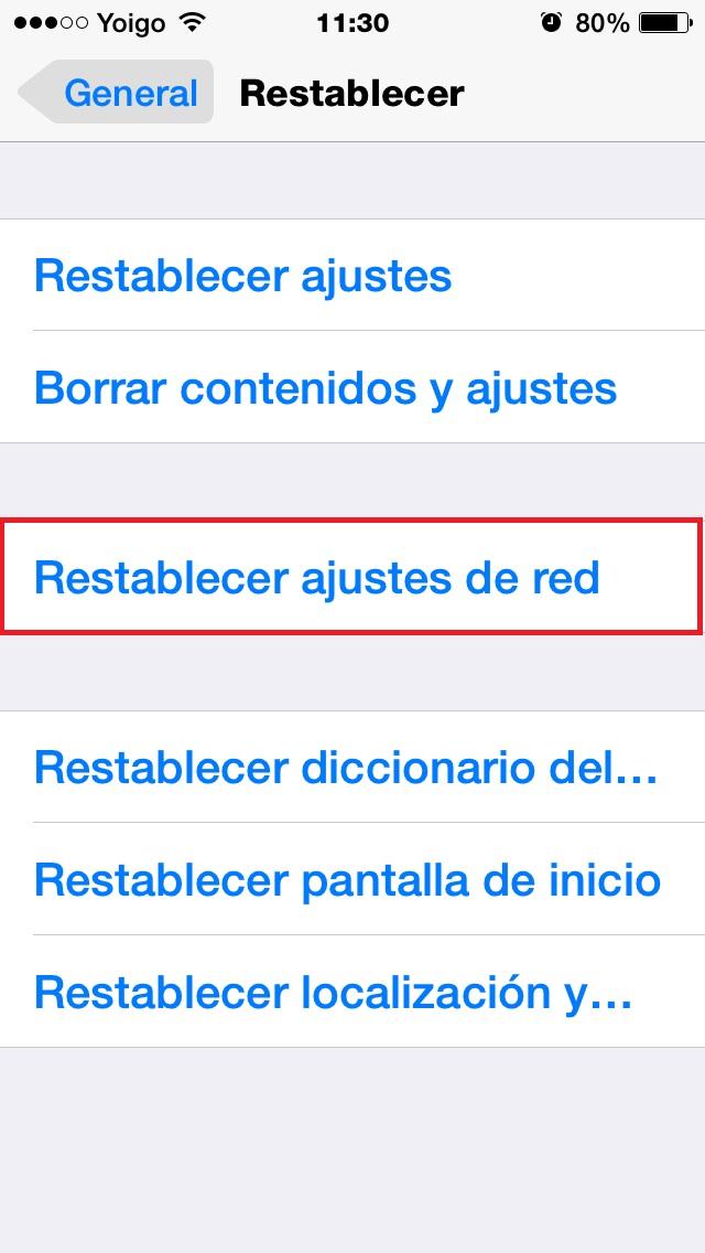 Clic en Restablecer ajustes de Red