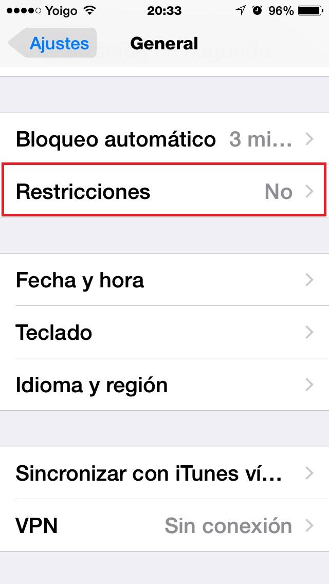 Clic en Restricciones