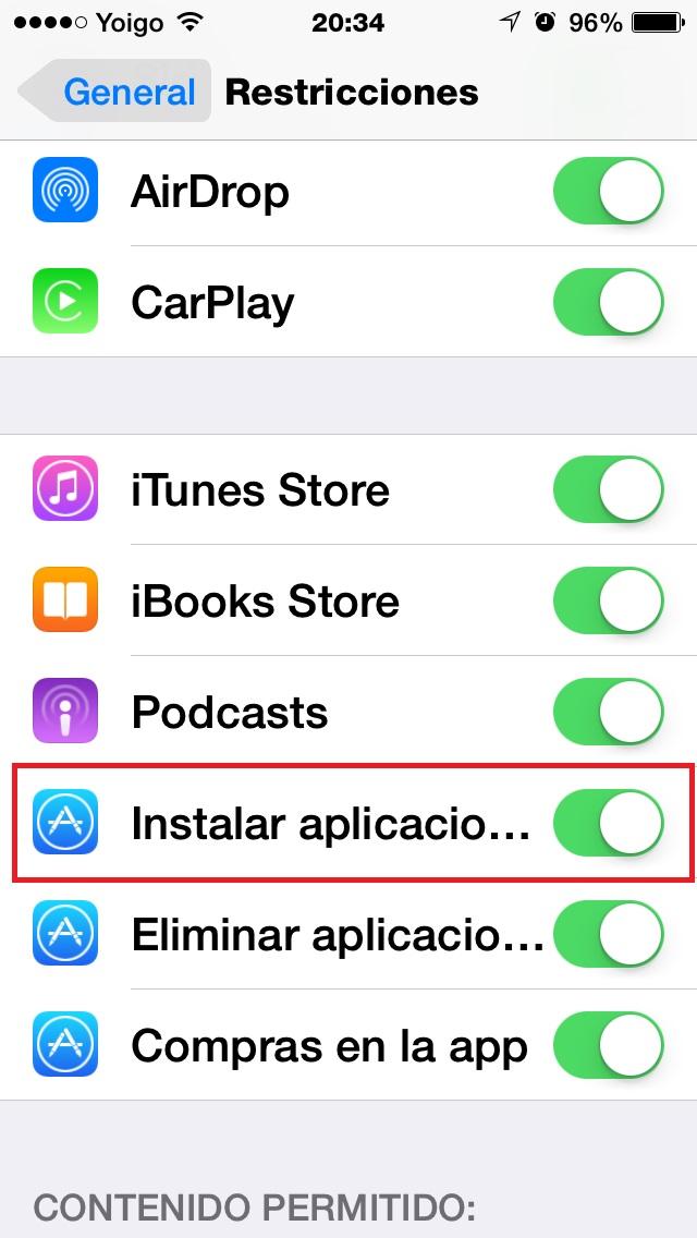 Activa Instalar aplicaciones