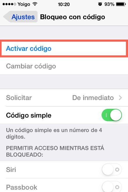 activar codigo