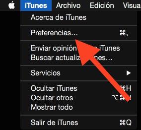Haz clic en Preferencias de iTunes