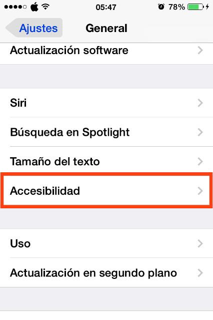 Clic en Accesibilidad en el iPhone