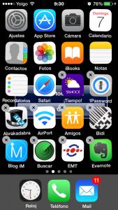 Toca el aspa para eliminar la app