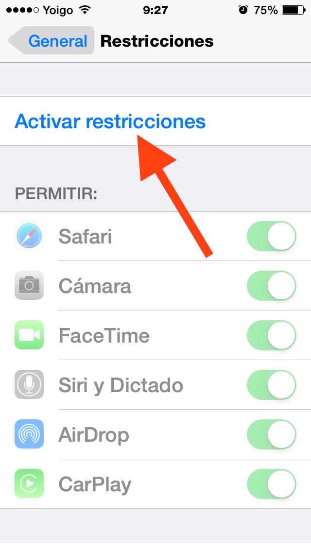 Activar Restricciones
