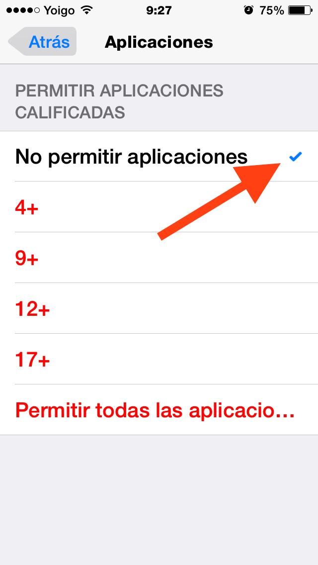 Marca No permitir aplicaciones