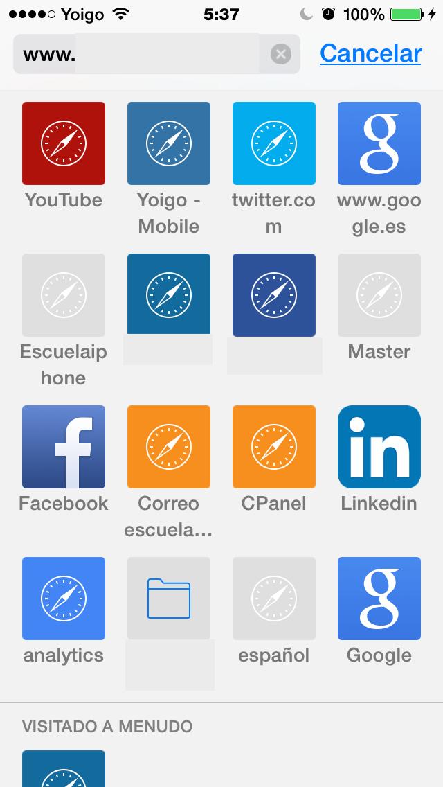 Iconos de las webs visitadas