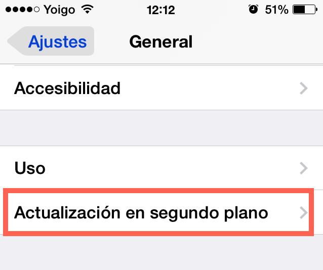 Actualización en segundo plano iPhone