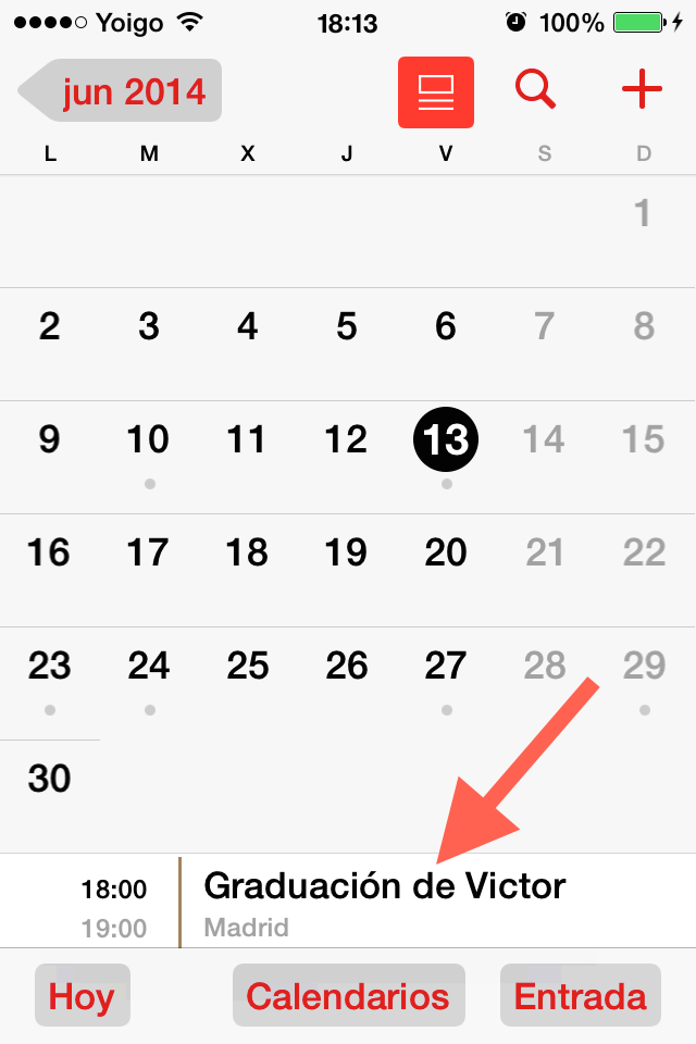 formato lista parte inferior calendario iPhone