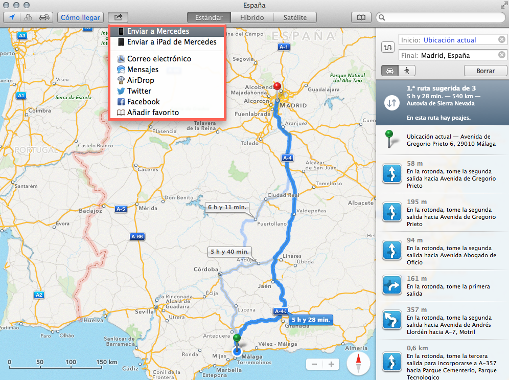 enviar tuta mapas iphone