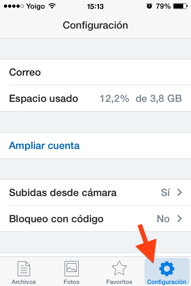 configuracion dropbox