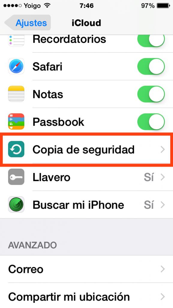Ajustes>iCloud>Copia de Seguridad