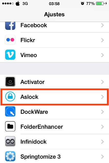 Aslock instalado en los Ajustes del iPhone