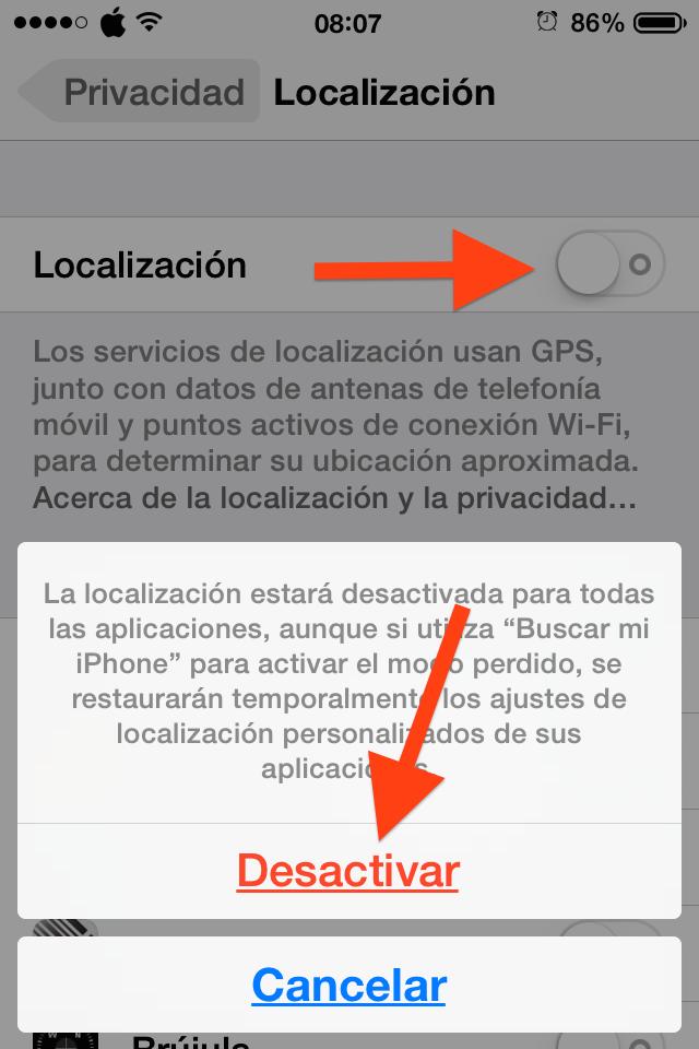 Desactivar Localización