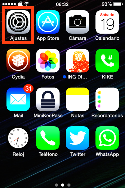 Pulsa en Ajustes del iPhone o iPad