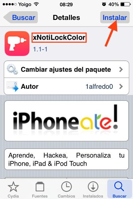 Instala xNotiLockColor