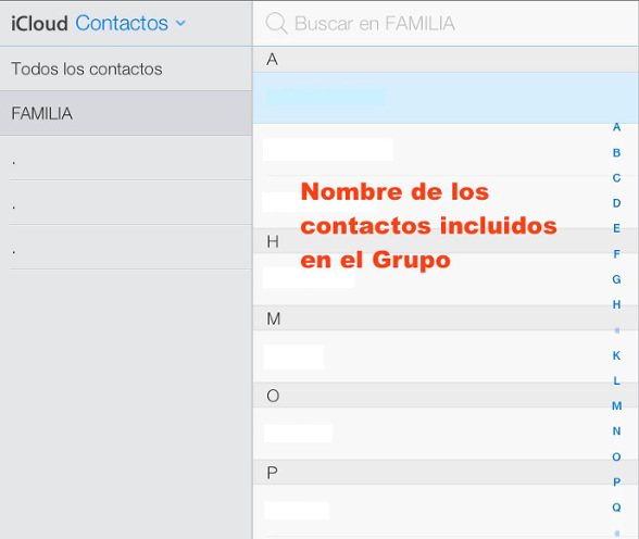 Grupo con los Contactos incluidos