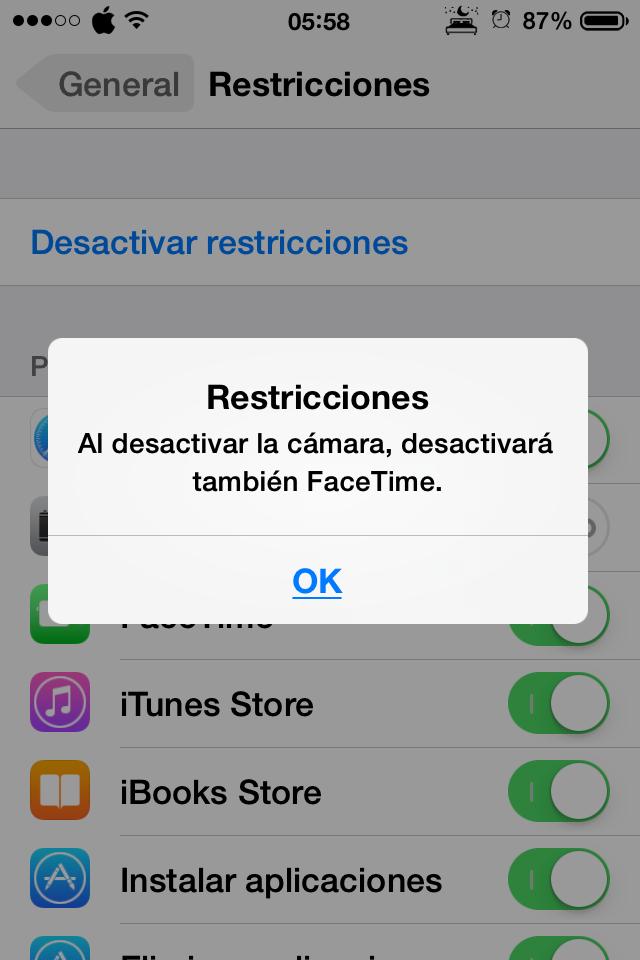 Aviso de que también va a desactivarse FaceTime