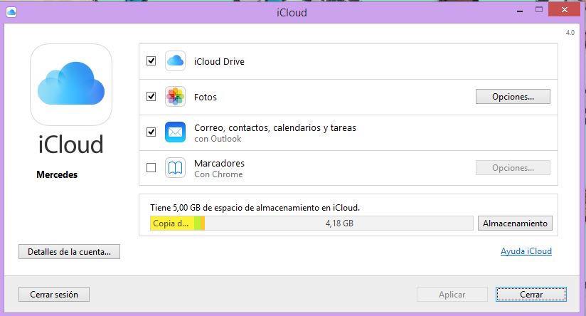 Panel de Control de iCloud