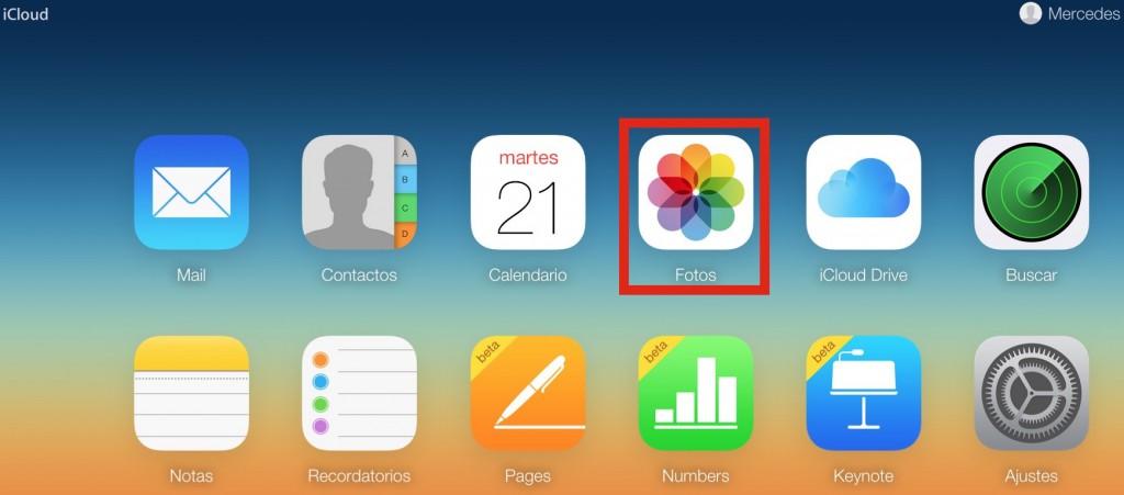 Página web de iCloud
