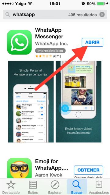 Instala Whatsapp de nuevo
