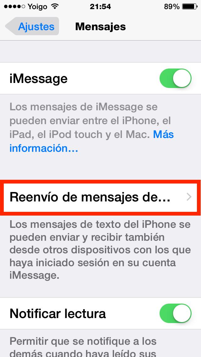 Reenvío de mensajes de texto
