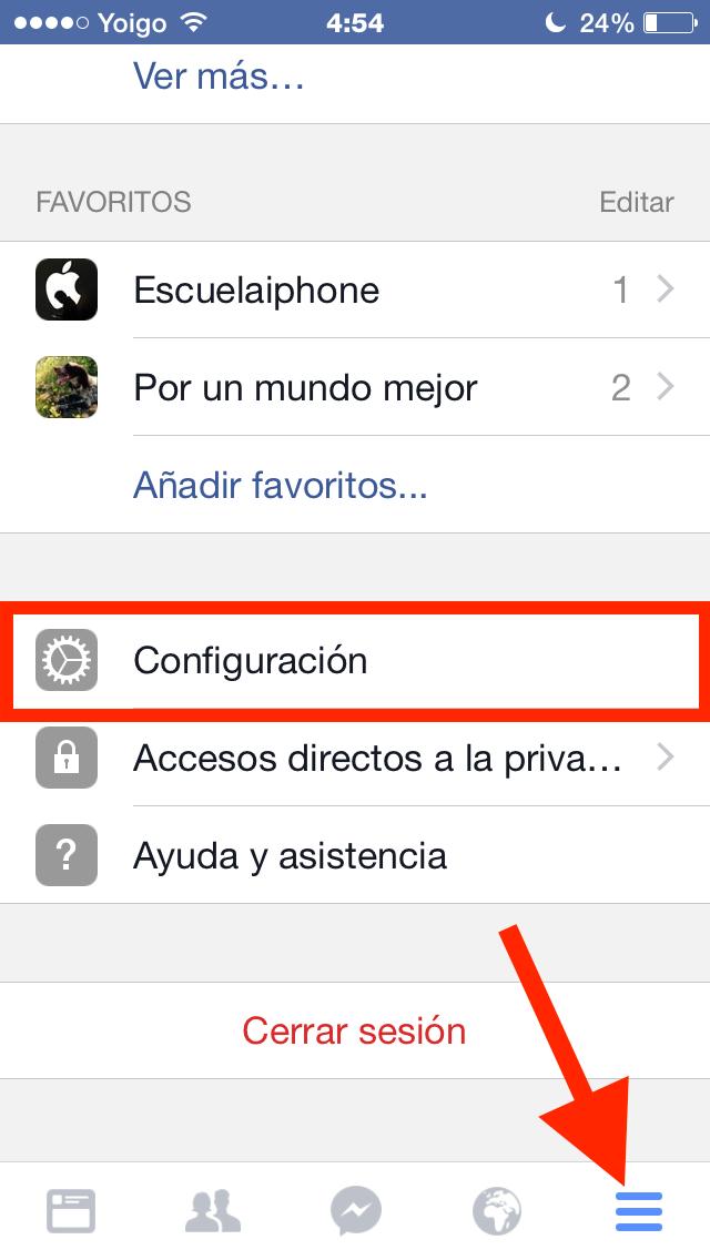 Clic en Más y en Configuración