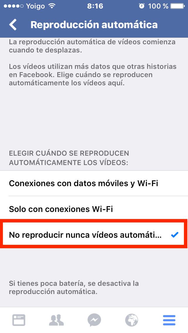 No reproducir nunca vídeos automáticamente
