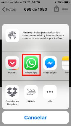 Pulsa en Whatsapp